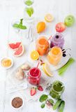 Smoothies, juices, beverages, drinks variety with fresh fruits and berries . Stock Photography