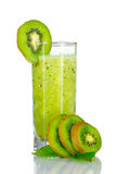 Smoothies of kiwi in glass Royalty Free Stock Images