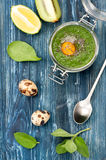 Smoothies kiwi and spinach Stock Photo