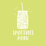 Smoothies menu. Smoothie jar silhouette with. Smoothie jar silhouette with fruits and berries. Vector hand drawn illustration stock illustration