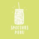 Smoothies menu Smoothie słoju sylwetka z Zdjęcia Royalty Free