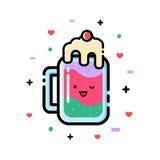 Smoothies mignons de fruit de bande dessinée à la banque Bio boisson naturelle, aliment biologique sain Icône, illustration de ve Photos stock