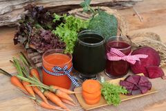 Smoothies mixed vegetables, beetroot, carrot and green vegetable Stock Photography