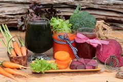 Smoothies mixed vegetables, beetroot, carrot and green vegetable Stock Photo