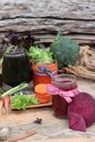 Smoothies mixed vegetables, beetroot, carrot and green vegetable Royalty Free Stock Photos
