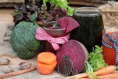 Smoothies mixed vegetables, beetroot, carrot and green vegetable Stock Images