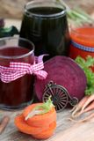 Smoothies mixed vegetables, beetroot, carrot and green vegetable Stock Image