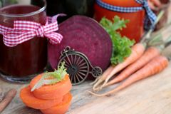 Smoothies mixed vegetables, beetroot, carrot and green vegetable Royalty Free Stock Image