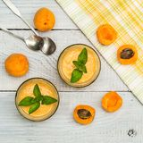 Smoothies of mulberries, apricot and mint Stock Photo