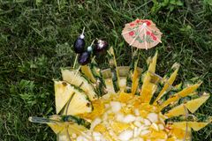 Homemade Mai Tai Cocktail with umbrella. Smoothies from pineapple and olives in glass. Cocktail with pineapple and ice served cold Royalty Free Stock Photography