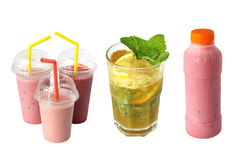 Smoothies in plastic cup stock photo