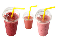 Smoothies in plastic cup. Isolated on a white background stock photo