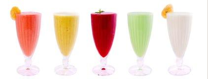 Smoothies, sappen, dranken, drankenverscheidenheid Stock Foto's