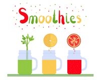 Smoothies 1 stock illustrationer