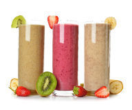 Smoothies strawberry, banana and kiwi Royalty Free Stock Photos
