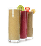 Smoothies strawberry, banana and kiwi Stock Photo