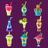 Smoothies And Sweet Multilayered Cocktails Collection Royalty Free Stock Image