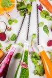 Smoothies végétaux colorés Photographie stock