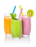 Smoothies van fruit en groenten Stock Foto's