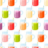 Smoothies variety seamless pattern, seamless background with smoothies, colorful and bright. Royalty Free Stock Images