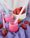Smoothies with yogurt and strawberries. Fruit cocktail Stock Images