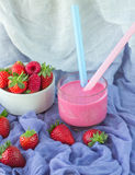 Smoothies with yogurt and strawberries. Fruit cocktail Royalty Free Stock Images