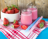 Smoothies with yogurt and strawberries. Fruit cocktail Stock Photography
