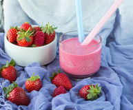 Smoothies with yogurt and strawberries. Fruit cocktail Royalty Free Stock Photo