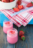 Smoothies with yogurt and strawberries. Fruit cocktail Royalty Free Stock Photos