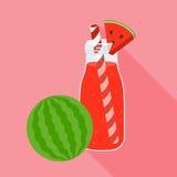 Smoothiewatermeloen en watermeloen Royalty-vrije Stock Afbeelding