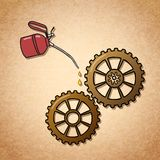 Smoothly spinning gears symbol Royalty Free Stock Photo
