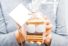 Smore - kakor, choklad och marshmallower - traditionell efterrätt - fyrkantig favöretikettsmodell fotografering för bildbyråer