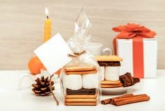 Smore - kakor, choklad och marshmallower - traditionell efterrätt - fyrkantig favöretikettsmodell royaltyfria foton