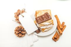 Smore - cookies, chocolate and marshmallows - traditional dessert - favor tag mockup. Smore - sweet dessert - cookies, chocolate and marshmallows - traditional royalty free stock photography