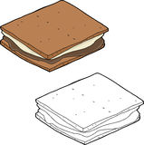 Smores Cartoon. Hand drawn smore snack over isolated background Stock Image