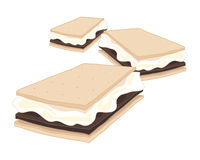 Smores. An illustration of delicious american smores crunchy biscuit with marshmallow and chocolate isolated on a white background Stock Images