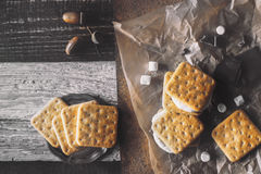Smores with ingredients on the different background top view stock photo