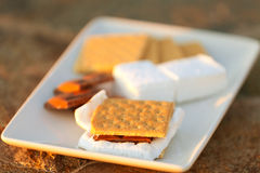 Smores and its ingredients Royalty Free Stock Photography