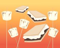 Smores and marshmallows on a firey background. An illustration of toasted marshmallows and smores on a fire background Stock Photography