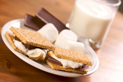 Smores and Milk Stock Photo