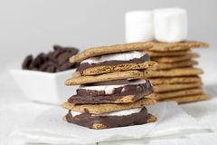 Smores sandwich with marshmallow chocolate Royalty Free Stock Photography