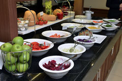 Smorgasbord - food choice. In a restaurant stock images