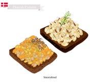Smorrebrod com Bean Sauce branco, o prato nacional de Dinamarca ilustração stock