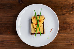 Smorrebrod - danish open sandwich with cheese Stock Photo