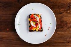 Smorrebrod - danish open sandwich with fish, herring Stock Image