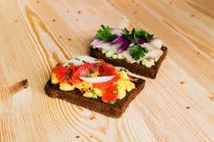 Smorrebrod - danish open sandwich with fish, herring Stock Photos