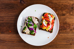 Smorrebrod - danish open sandwich with fish, herring Royalty Free Stock Image
