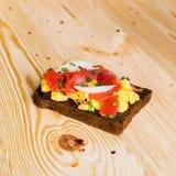 Smorrebrod - danish open sandwich with fish, herring Royalty Free Stock Photo
