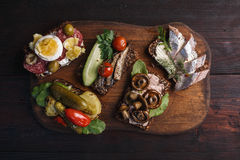 Smorrebrod-open sandwiches Stock Images