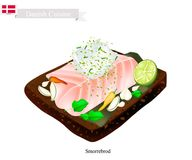 Smorrebrod with White Fish, The National Dish of Denmark. Danish Cuisine, Illustration of Smorrebrod or Traditional Buttered Rye Bread or Dark Rye Bread Topped vector illustration
